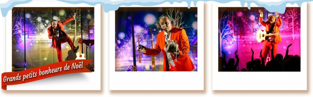 Bandeau trois images du spectacle de Noel Grands petits bonheurs de Noel