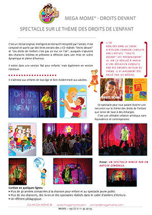 Mega Mome Vignette flyer spectacle sur les droits de l'enfant