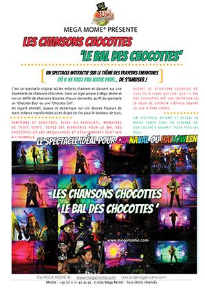 Vignette du Flyer de présentation du spectacle Les chansons chocottes ou le bal des chocottes - Le spectacle idéal pour fêter Carnaval ou Halloween. Les enfants chantent et dansent sur une ribambelles de chansons sur le thème des frayeurs enfantines. Nouveauté 2020