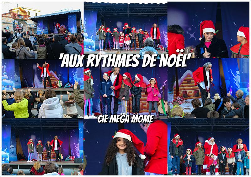 """Spectacle de Noël en extérieur avec """"Aux Rythmes de Noël"""" de Mega Mome"""